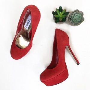Steve Madden Red Suede Allyy Pump Heels | 7